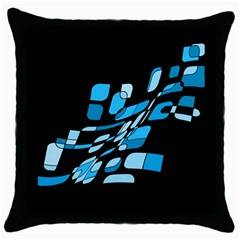 Blue abstraction Throw Pillow Case (Black)