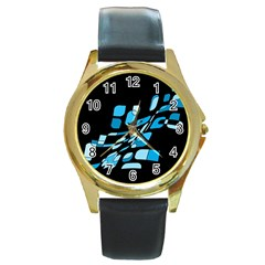 Blue abstraction Round Gold Metal Watch