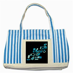Blue abstraction Striped Blue Tote Bag