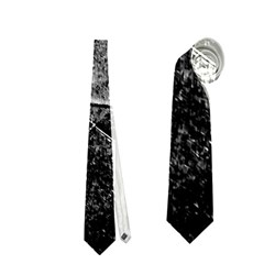Dark Geometric Grunge Pattern Print Neckties (One Side)
