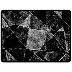 Dark Geometric Grunge Pattern Print Fleece Blanket (Large)