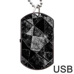 Dark Geometric Grunge Pattern Print Dog Tag Usb Flash (two Sides)