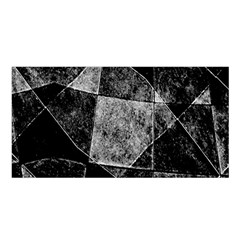 Dark Geometric Grunge Pattern Print Satin Shawl