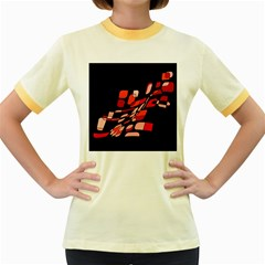 Orange abstraction Women s Fitted Ringer T-Shirts
