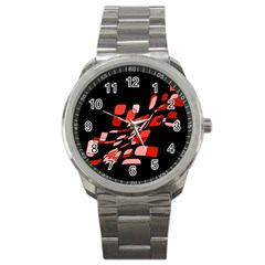 Orange abstraction Sport Metal Watch