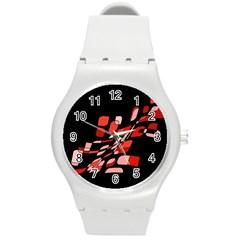 Orange abstraction Round Plastic Sport Watch (M)