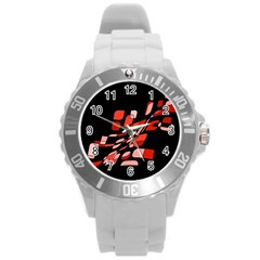 Orange abstraction Round Plastic Sport Watch (L)