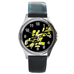 Yellow abstraction Round Metal Watch