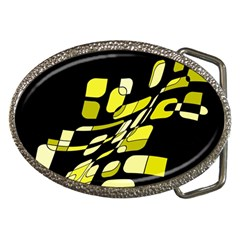 Yellow abstraction Belt Buckles