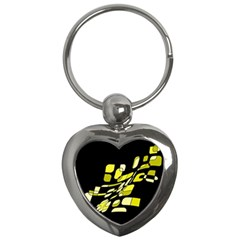 Yellow abstraction Key Chains (Heart)