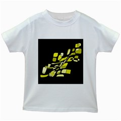 Yellow abstraction Kids White T-Shirts