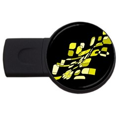 Yellow abstraction USB Flash Drive Round (1 GB)