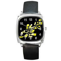 Yellow abstraction Square Metal Watch
