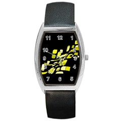 Yellow abstraction Barrel Style Metal Watch
