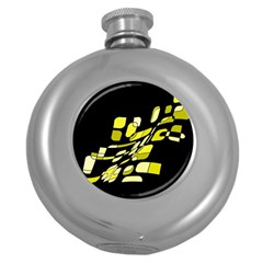 Yellow abstraction Round Hip Flask (5 oz)