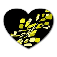 Yellow abstraction Heart Mousepads