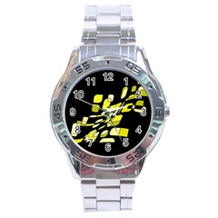 Yellow abstraction Stainless Steel Analogue Watch