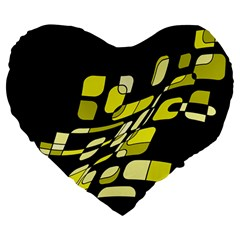Yellow abstraction Large 19  Premium Flano Heart Shape Cushions