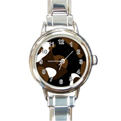 Black Brown And White Abstract 3 Round Italian Charm Watch