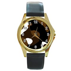 Black Brown And White Abstract 3 Round Gold Metal Watch