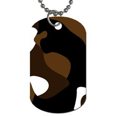 Black Brown And White Abstract 3 Dog Tag (One Side)