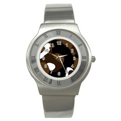 Black Brown And White Abstract 3 Stainless Steel Watch