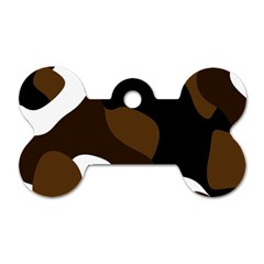 Black Brown And White Abstract 3 Dog Tag Bone (Two Sides)