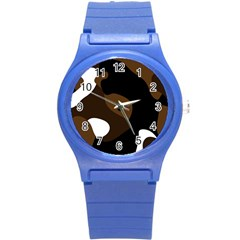Black Brown And White Abstract 3 Round Plastic Sport Watch (S)