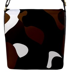 Black Brown And White Abstract 3 Flap Messenger Bag (S)