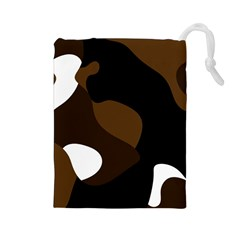 Black Brown And White Abstract 3 Drawstring Pouches (Large)