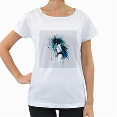 Caged Bird Women s Loose-Fit T-Shirt (White)