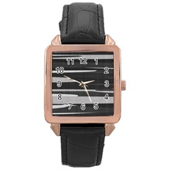 Gray Camouflage Rose Gold Leather Watch