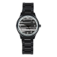 Gray Camouflage Stainless Steel Round Watch