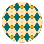 Blue yellow rhombus pattern                                                                                 Magnet 5  (Round) Front