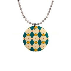 Blue yellow rhombus pattern                                                                                 1  Button Necklace