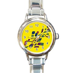 Yellow abstraction Round Italian Charm Watch