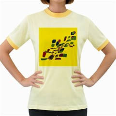 Yellow abstraction Women s Fitted Ringer T-Shirts