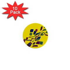 Yellow abstraction 1  Mini Buttons (10 pack)