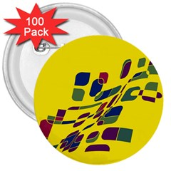 Yellow abstraction 3  Buttons (100 pack)