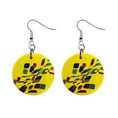 Yellow abstraction Mini Button Earrings
