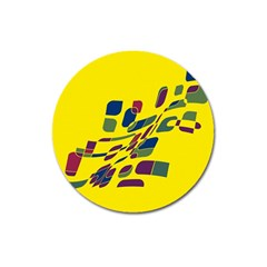 Yellow abstraction Magnet 3  (Round)