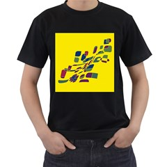 Yellow abstraction Men s T-Shirt (Black) (Two Sided)