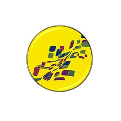 Yellow abstraction Hat Clip Ball Marker (4 pack)