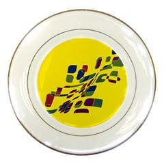 Yellow abstraction Porcelain Plates