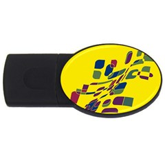 Yellow abstraction USB Flash Drive Oval (4 GB)