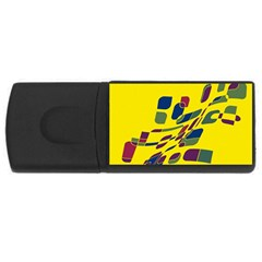 Yellow abstraction USB Flash Drive Rectangular (4 GB)