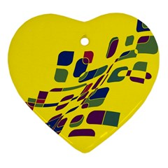 Yellow abstraction Heart Ornament (2 Sides)