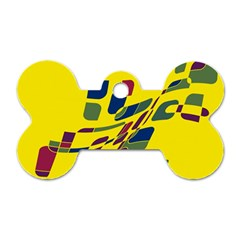 Yellow abstraction Dog Tag Bone (One Side)