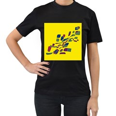 Yellow abstraction Women s T-Shirt (Black)