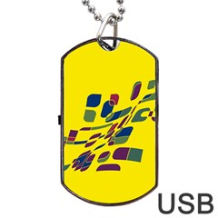 Yellow abstraction Dog Tag USB Flash (Two Sides)